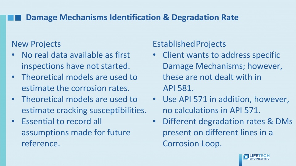 Damage mechanisms identification and degradation rate