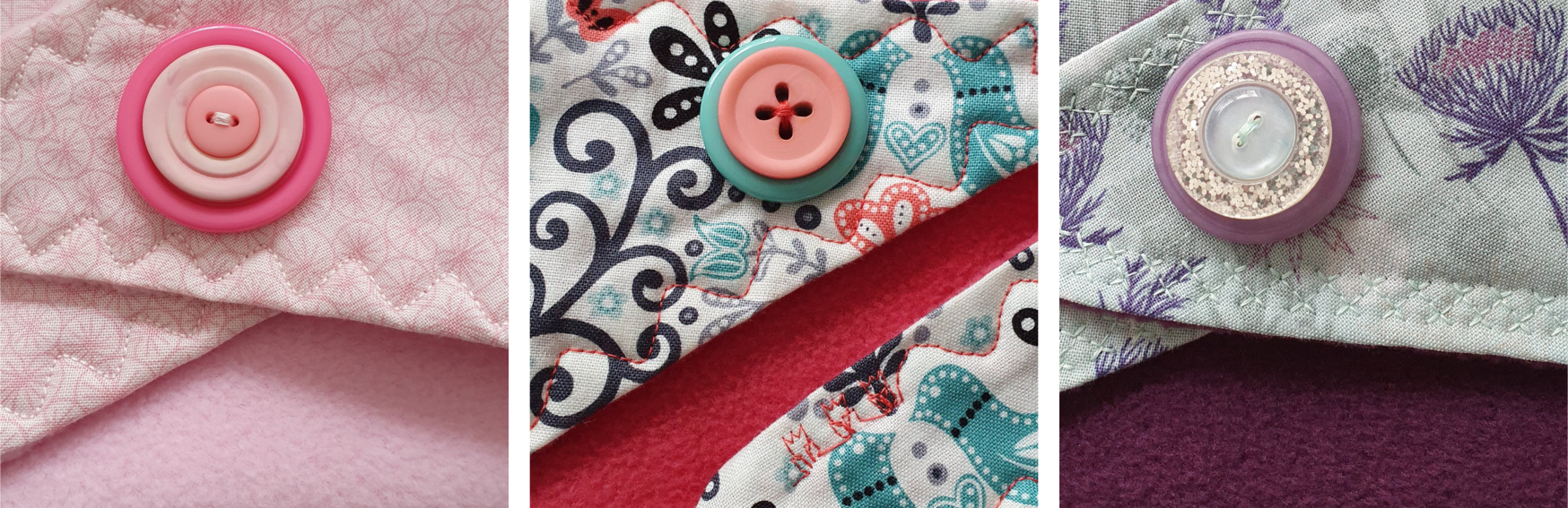 Button details on the scarves