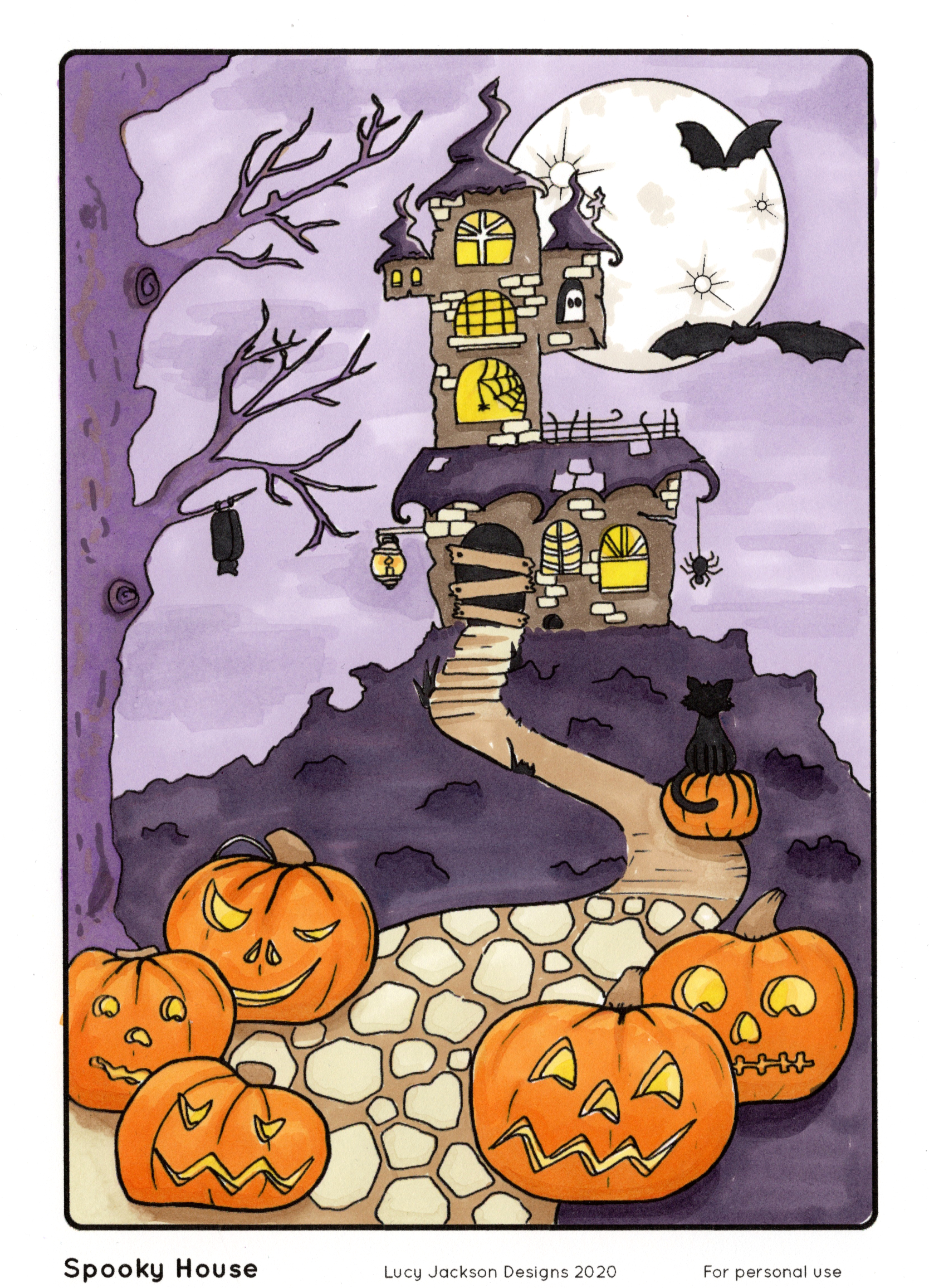 Coloured Spooky Castle