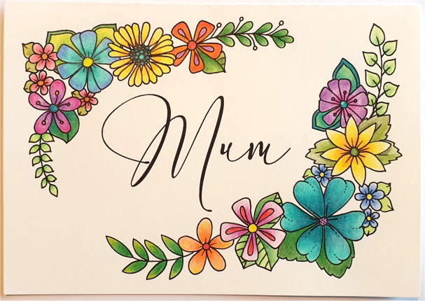 coloured in mothers day card