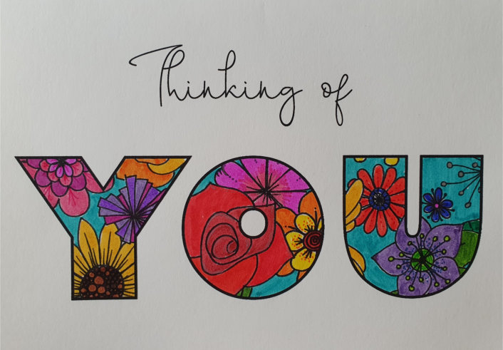 Thinking of you coloured card