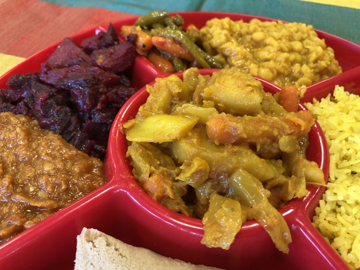 Dish full of vegan Ethiopian food from Lula's Ethiopian Cuisine