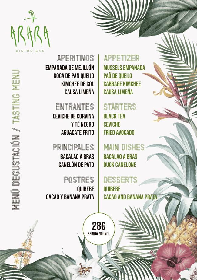 Tasting menu arara lumy luxury