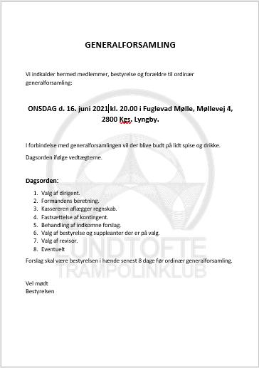 Der indkaldes til Ordinær Generalforsamling 2021