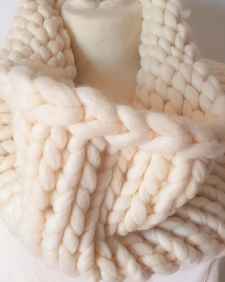 Hand knitted white scarf in really chunky pure wool