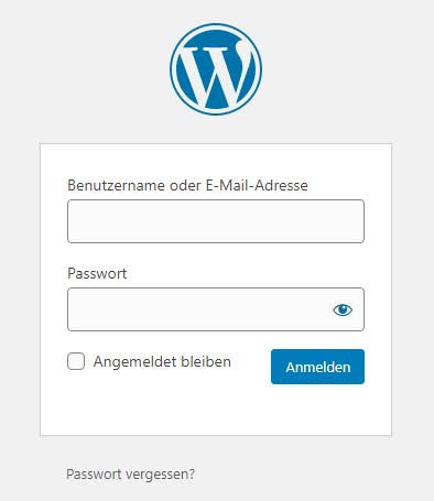 Login Fenster WordPress