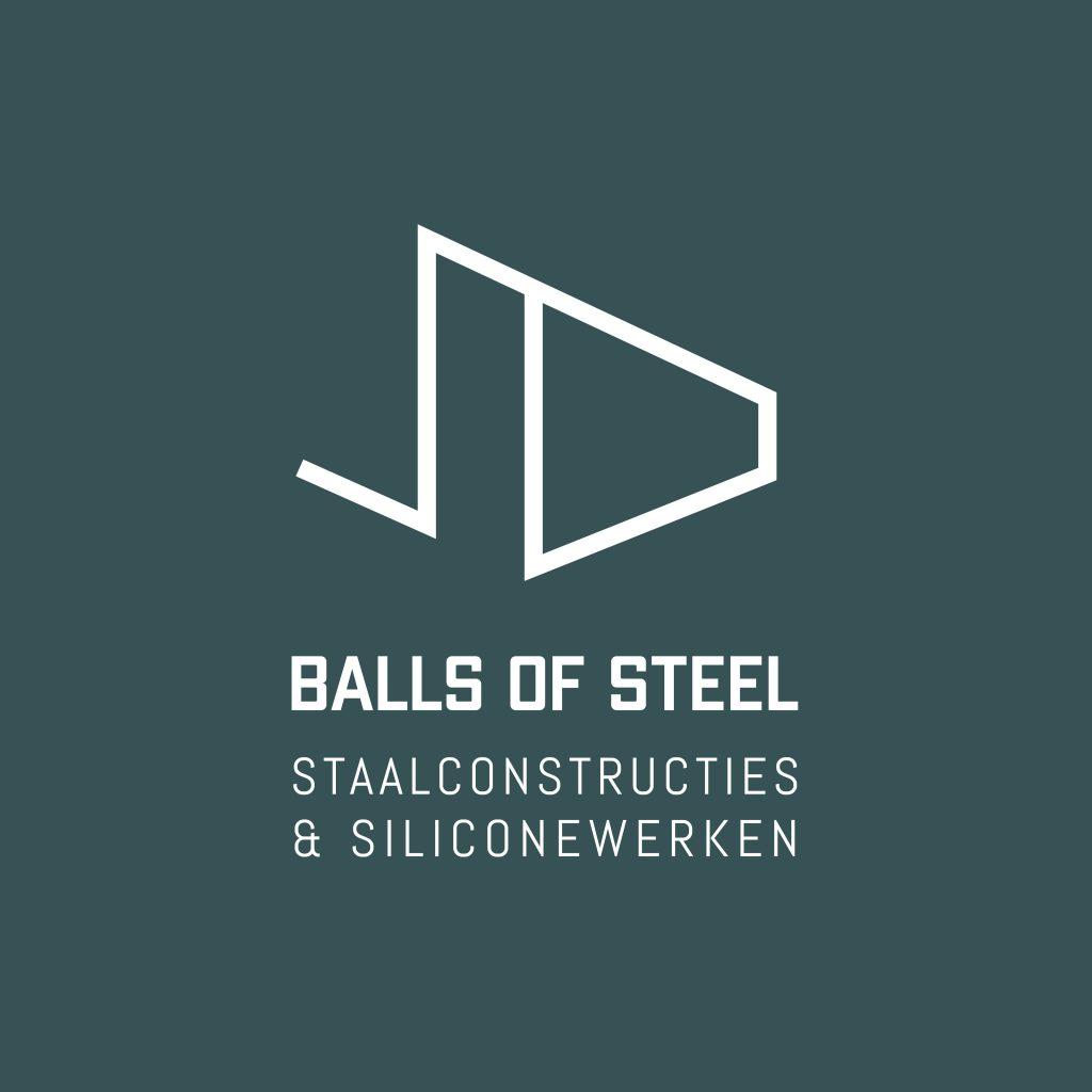 Logo Balls Of Steel wit op groen