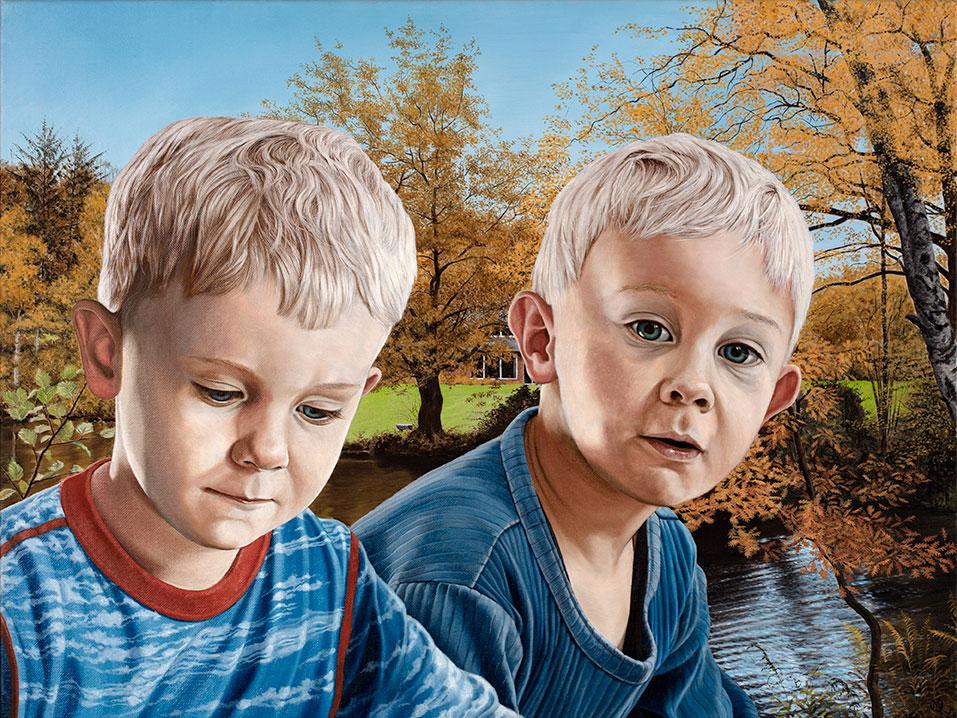 Børnebørnene i haven, efterår, Oil On Canvas, 80 x 100 cm