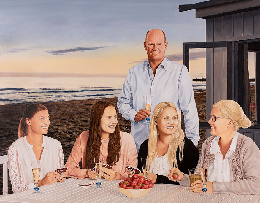Familien Hauberg, Oil On Canvas, 150 x 190 cm