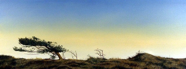 Landscape With Dark Tree, Oil On Canvas, 75 x 200 cm