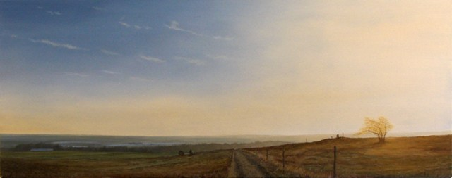 Landscape With Yellow Tree, Oil On Canvas, 75 x 200 cm