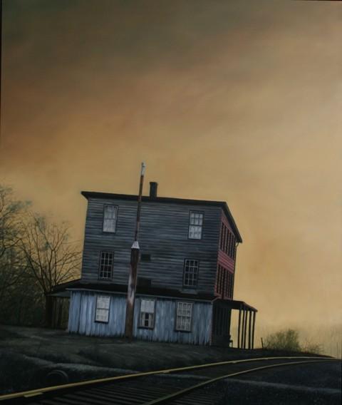Railroad Station, Oil On Canvas, 120 x 100 cm