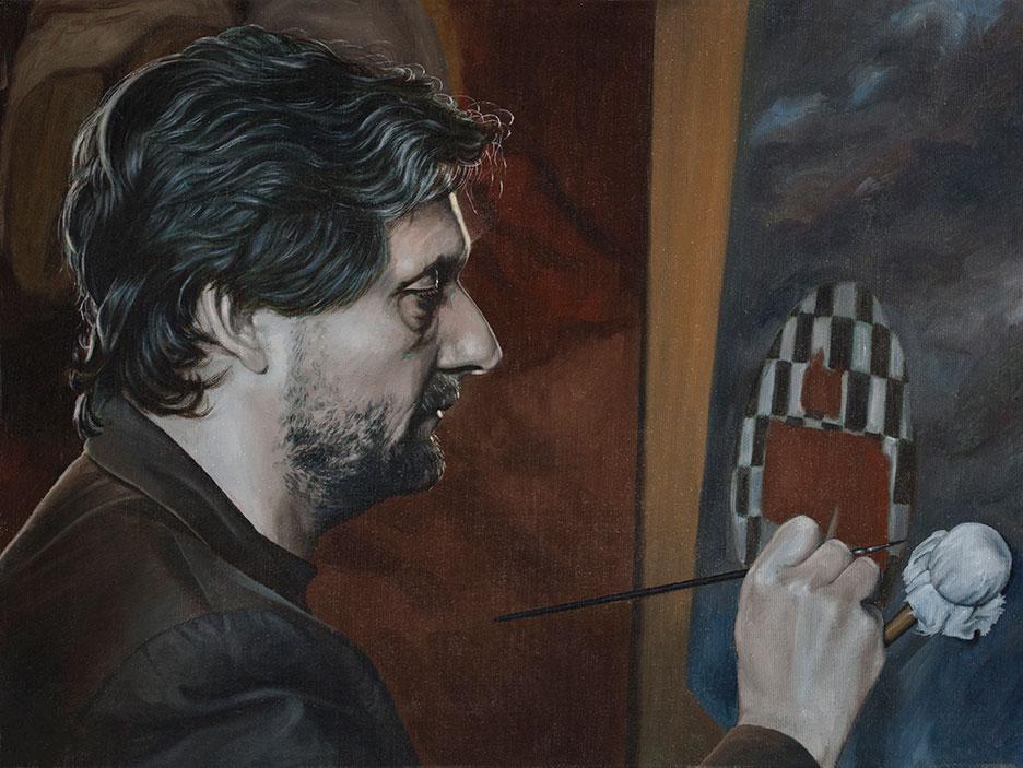 Self Portrait, Oil On Canvas, 35 x 48 cm