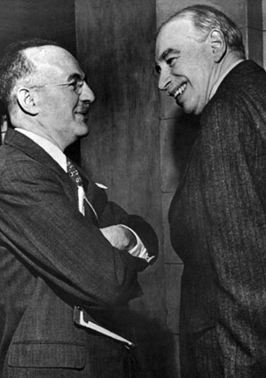 Harry Dexter White (left) and John Maynard Keynes