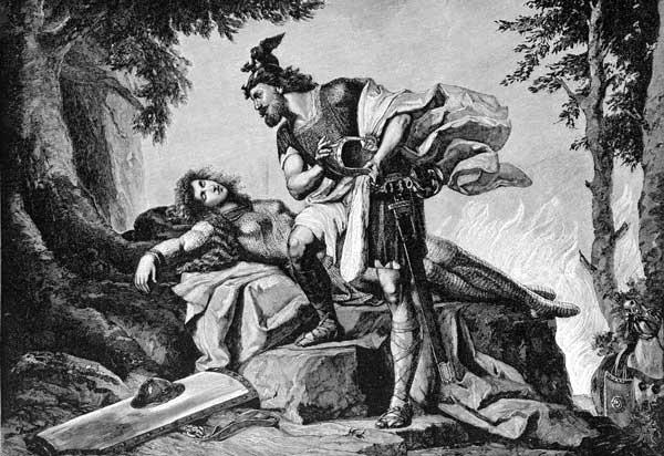 Hero Siegfried awakens Brunhild