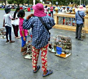 Fuglesælgere ved Preah Ang Doung Kar