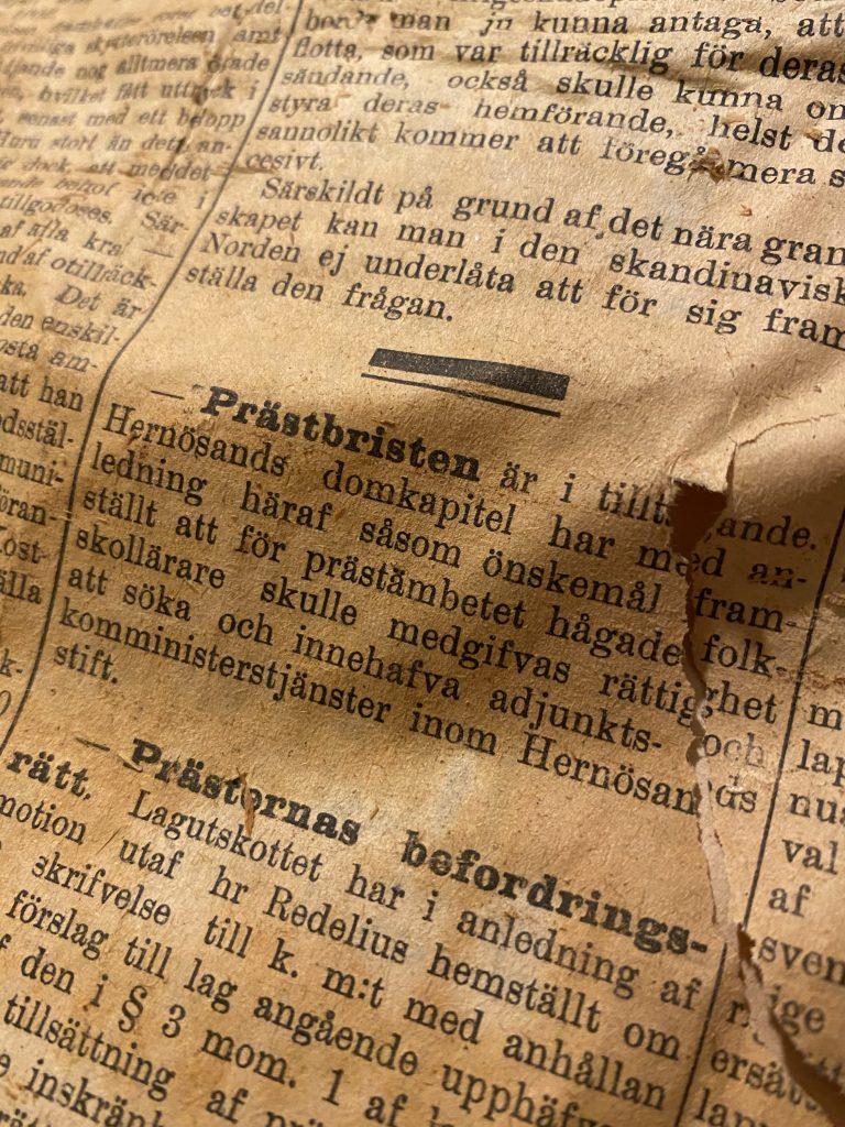 Tidningsartikel från år 1901 om prästbristen i Hernösands domkapitel i Westerbotten.