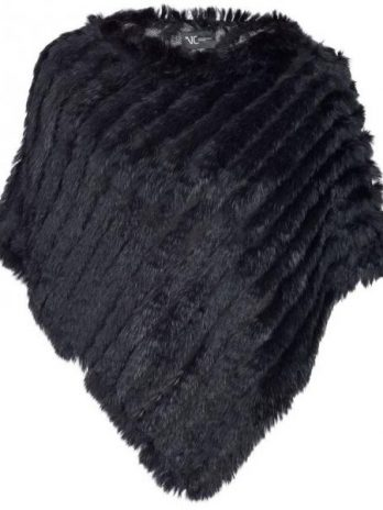 Poncho i päls svart