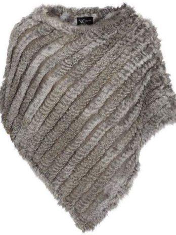 Poncho i päls naturgrå
