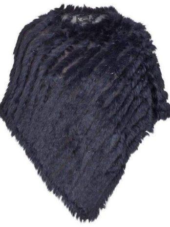 Poncho i päls marinblå