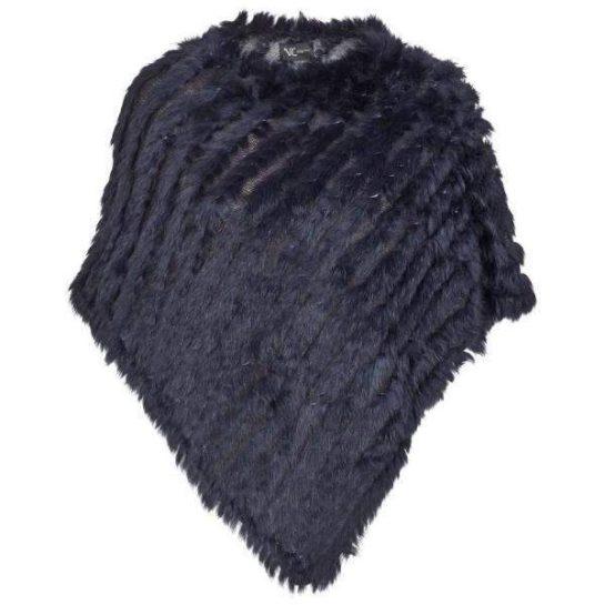 Poncho i päls mörkblå