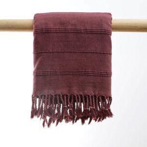 Hammam badehåndklæde stone wash bordeaux manipura living