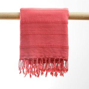 Hammam badehåndklæde Stone wash koralrød manipura living