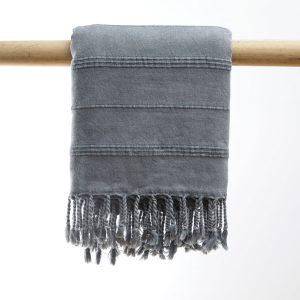 Hammam håndklæse stone wash - dark grey manipura living