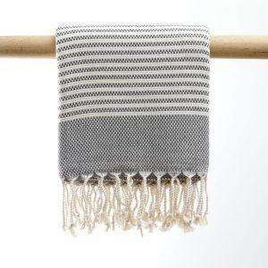 Hammam håndklæde wicker mørk grå manipura living
