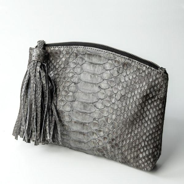 Håndtaske grå python skind - Kundalini Beauty Clutch