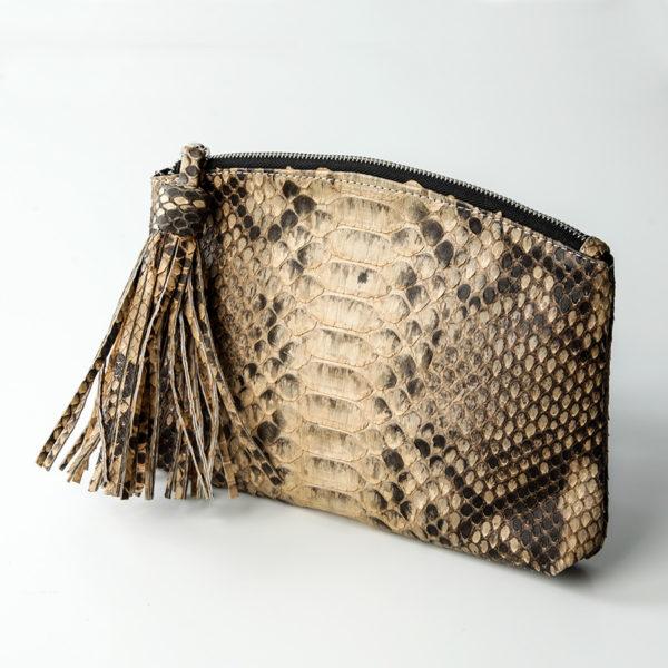 Håndtaske python skind - cognac - Kundalini Beauty clutch