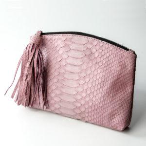 håndtaske python skind - rosa - kundalini beauty clutch
