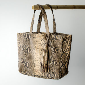 Kundalini big shopper bag python skind - cognac