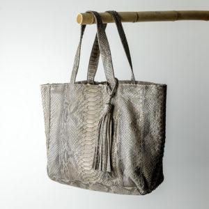 kundalini big shopper bag python skind - jordgrå