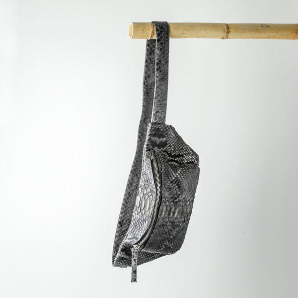 kundalini crossbody bum bags python skind grå