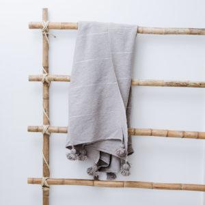 plaid og sengetæppe hør fra Marokko beige Manipura Living