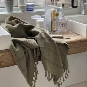 Hammam håndklæde armygrøn stone wash