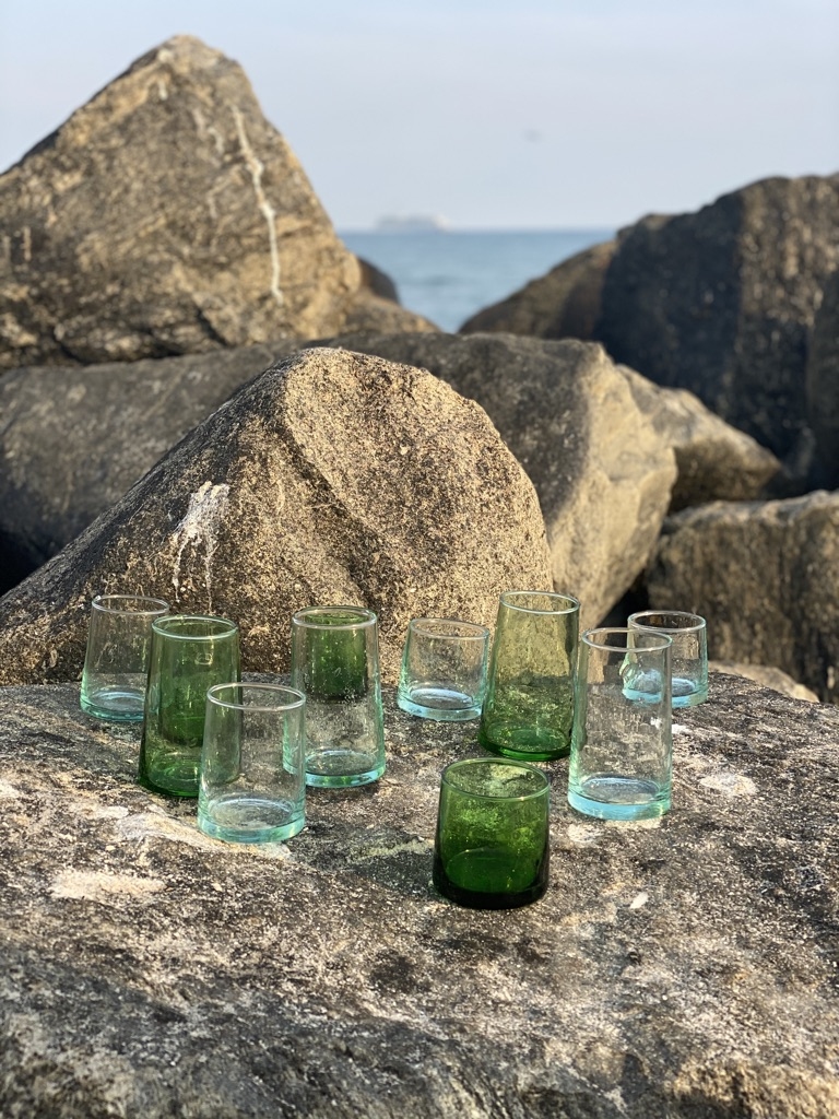 Manipura living drikkeglas i mundblæst genbrugs glas recycled