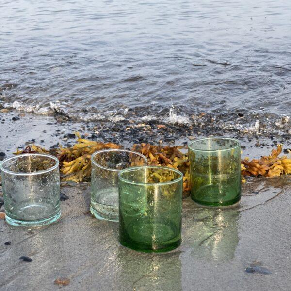 Casablanca glas i mundblæst genbrugsglas medium