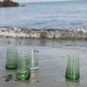mundblæste Glas FEZ L grønne og klare genbrugsglas