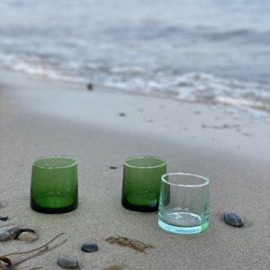 mundblæste FEZ glas S grønne og klare genbrugsglas