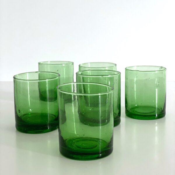 Mundblæst Glas Casablanca - M grønt genbrugsglas 6 stk