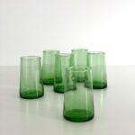 mundblæste Glas FEZ - L grønt genbrugsglas 6 stk