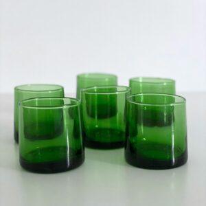 mundblæste Glas FEZ - S grønne 6 stk genbrugsglas