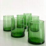 mundblæste Glas Fez - M grønt genbrugsglas 6 stk