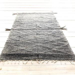 Zanafi gulvtæppe 300 x 200 cm sort og hvid fåreuld