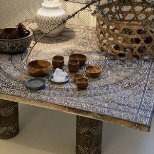 TIMOR sofabord og coffee table kvadratisk med maske fra Bali