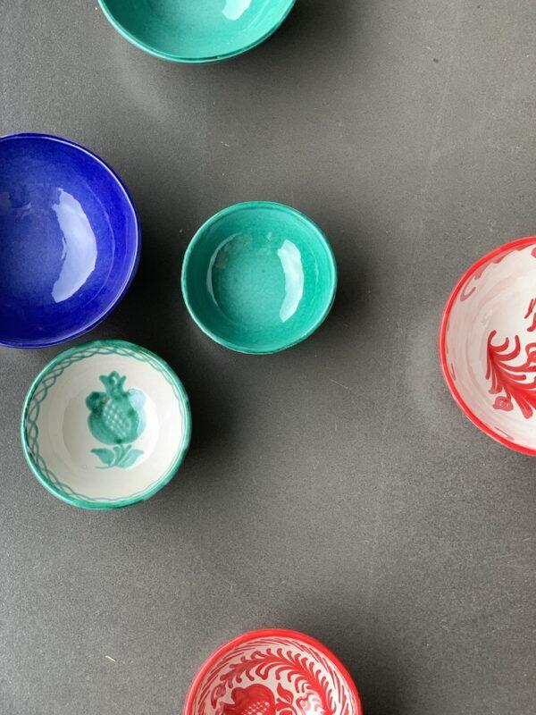 håndlavet keramik blå, grøn, rød