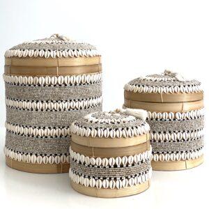 Runde Bali kurveæsker låg - perler, konkylier - flere størrelser til opbevaring