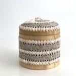 opbevaringsæske Runde Bali kurveæsker låg - perler, konkylier - medium